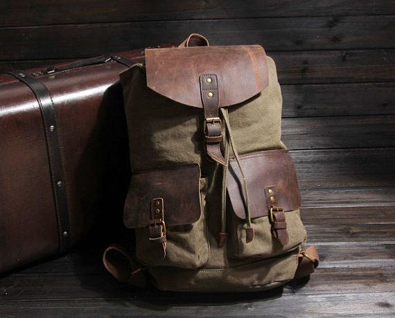 Leather Canvas Backpack.
