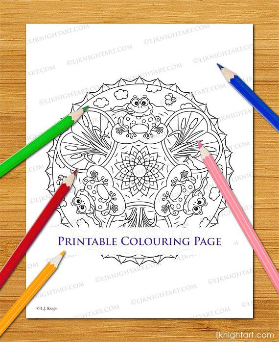 Frog Mandala Digital Colouring Page Cute Cartoon Animal