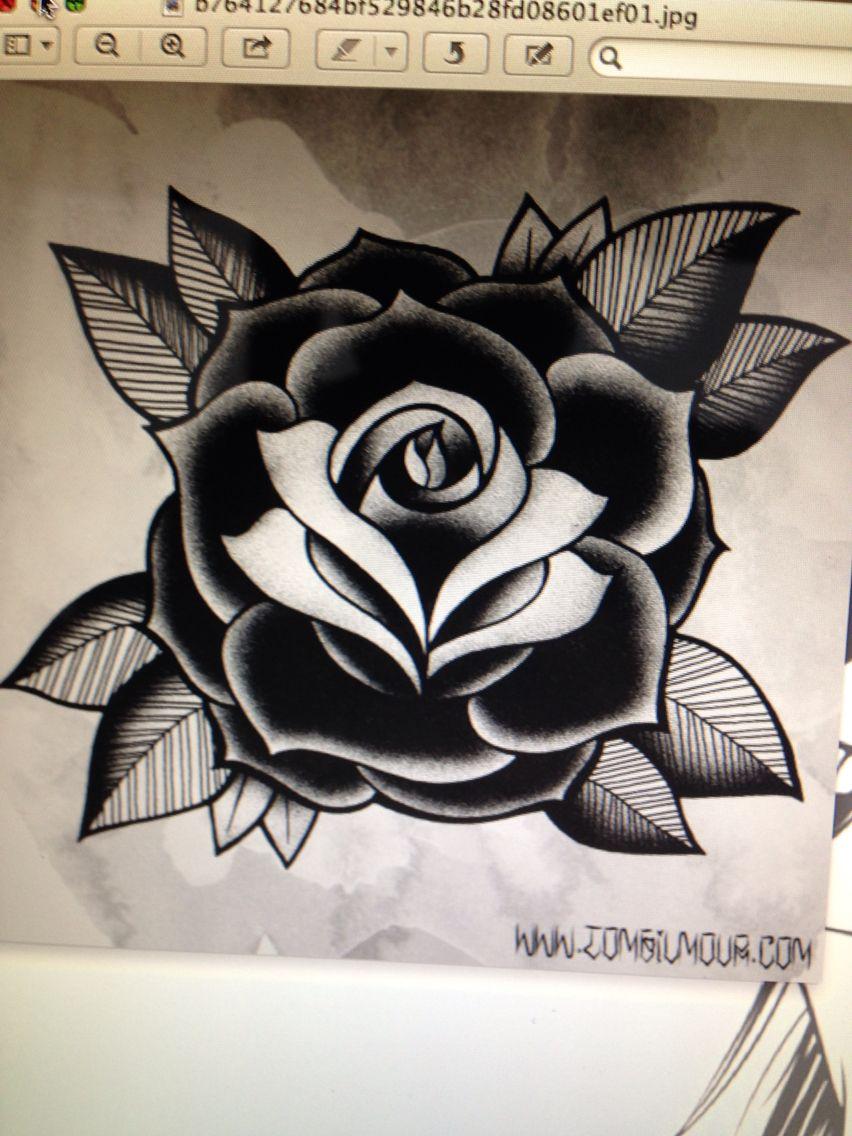 Black Old School Rose Tatuagem De Bebê Desenhos Para