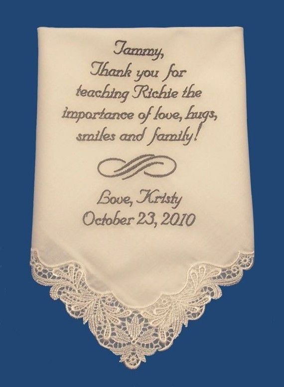 Ladies Personalized Wedding Bridal Handkerchief With Your Own Message - $12 (for da mama :))