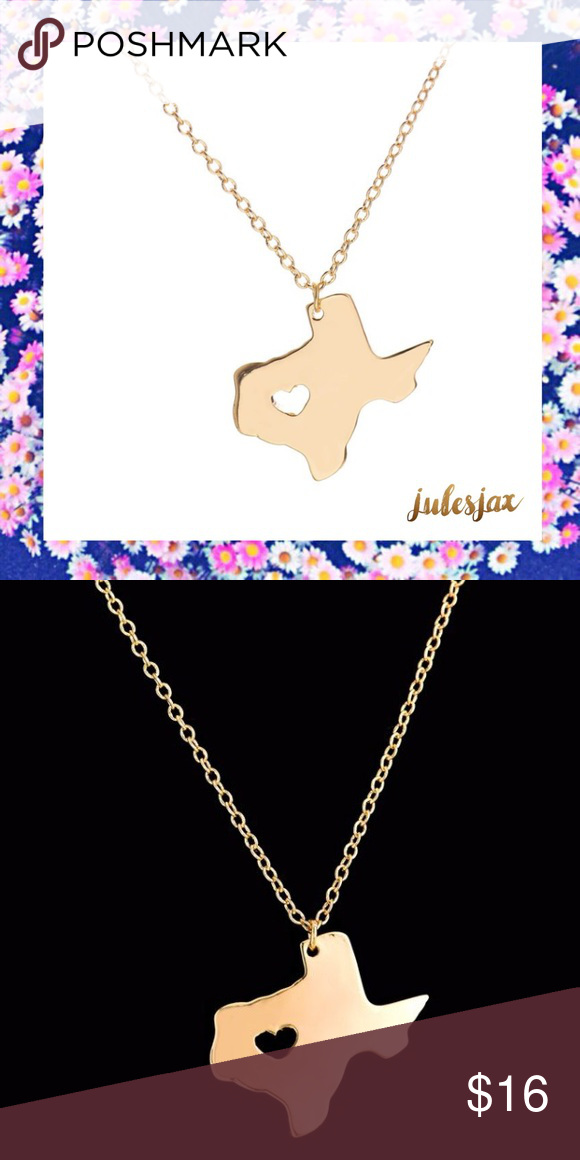 TEXAS state 18k gold plated necklace A cute little heart ❤️ right inside the gold Texas shaped pendant.  Link chain style, length is 45cm and this is 18k gold plated Jewelry Necklaces