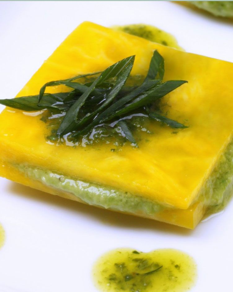 31 alternative noodle recipes that pasta fanatics will love raw golden beet ravioli with english pea puree and herb oil vegetable forumfinder Choice Image