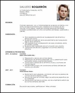 Modelo Curriculum Vitae Cocinero Con Imagenes Modelos De