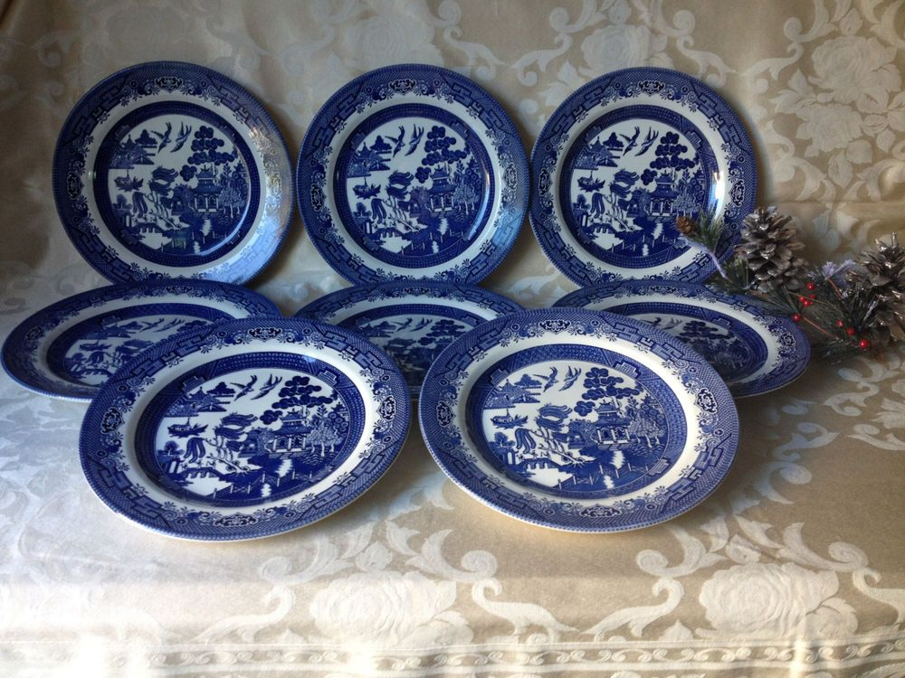 8 Churchill Blue Willow Dinner Plates Made in England #Churchill & 8 Churchill Blue Willow Dinner Plates Made in England #Churchill ...