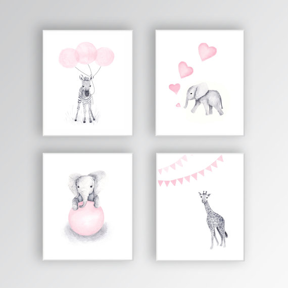 baby girl nursery art canvases animal nursery decor elephant nursery zebra nursery art set. Black Bedroom Furniture Sets. Home Design Ideas