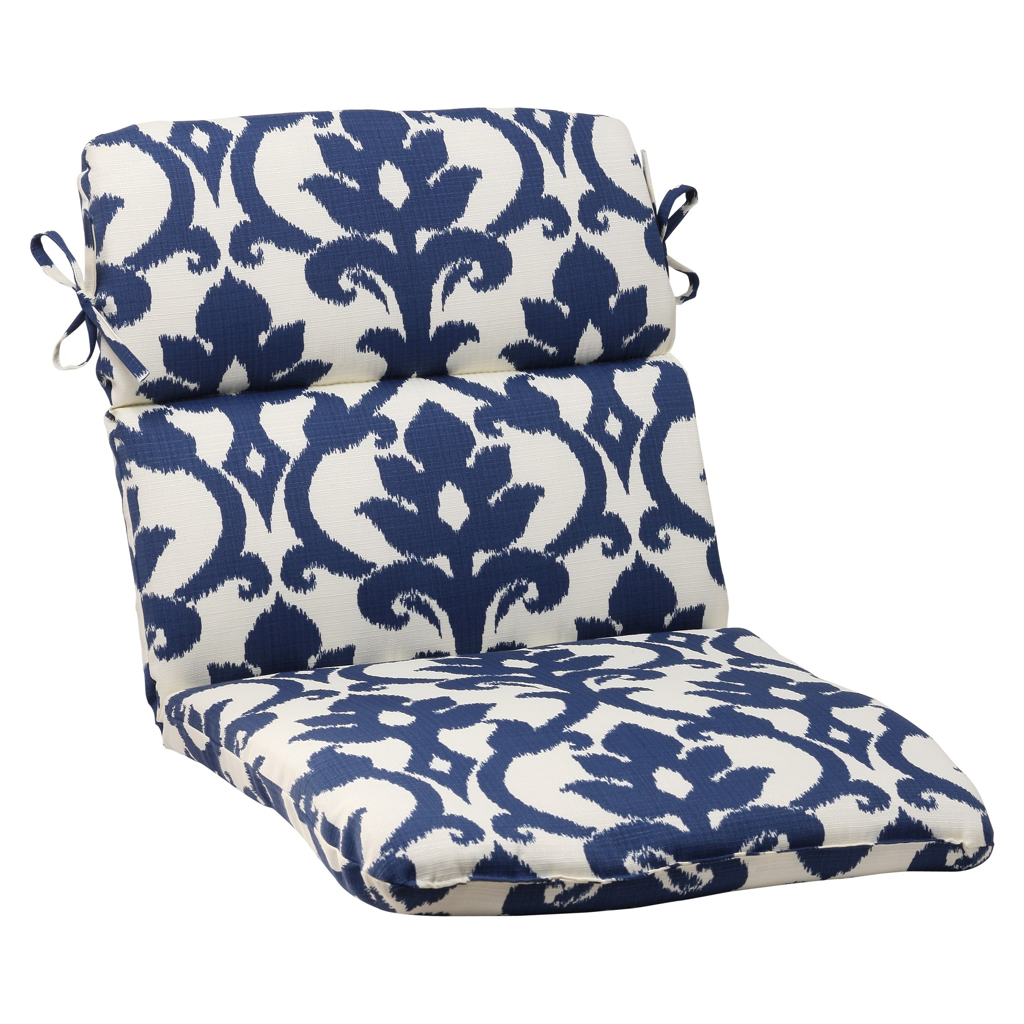 Outdoor Rounded Chair Cushion Blue/White Damask Round