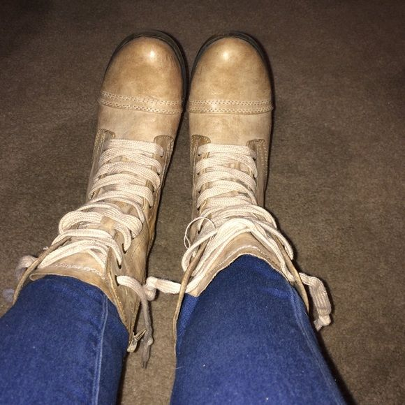 Worn once cream colored combat boots I've only worn these boots maybe once! Super cute, they just didn't fit me quite right! Size 6.5 Shoes Combat & Moto Boots