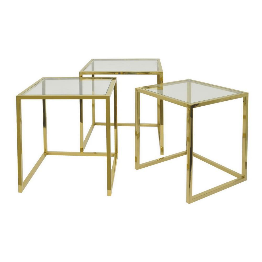Three Hands 22 In Gold Nesting Table Set Of 3 40306