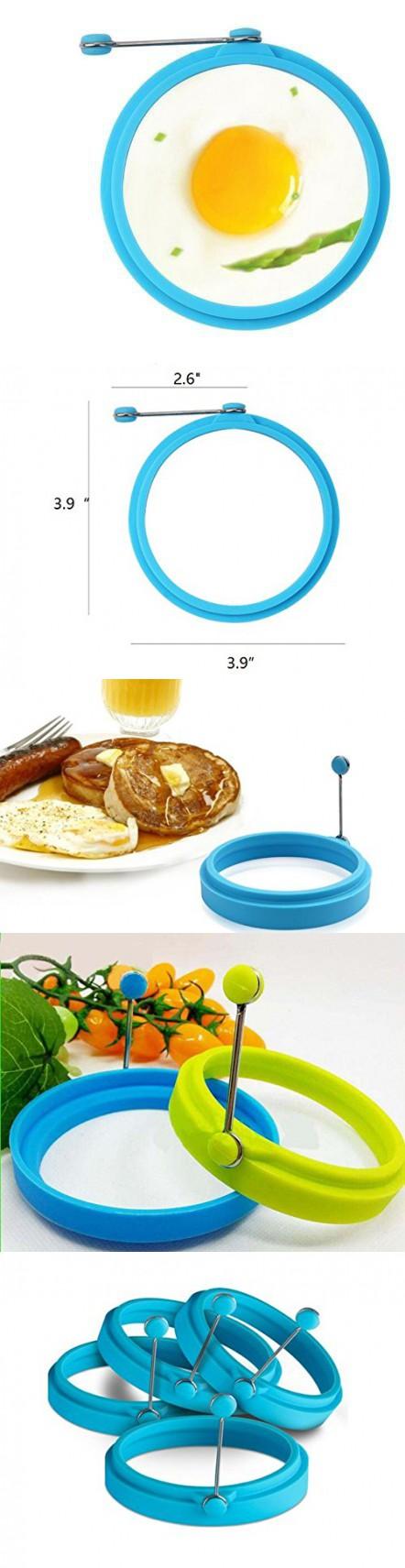 Premium Silicone Egg Cooker Ring / Pancake Rings 4-Pack Silicone Egg Ring - Egg Mold - Silicone Pancake (4, Blue )