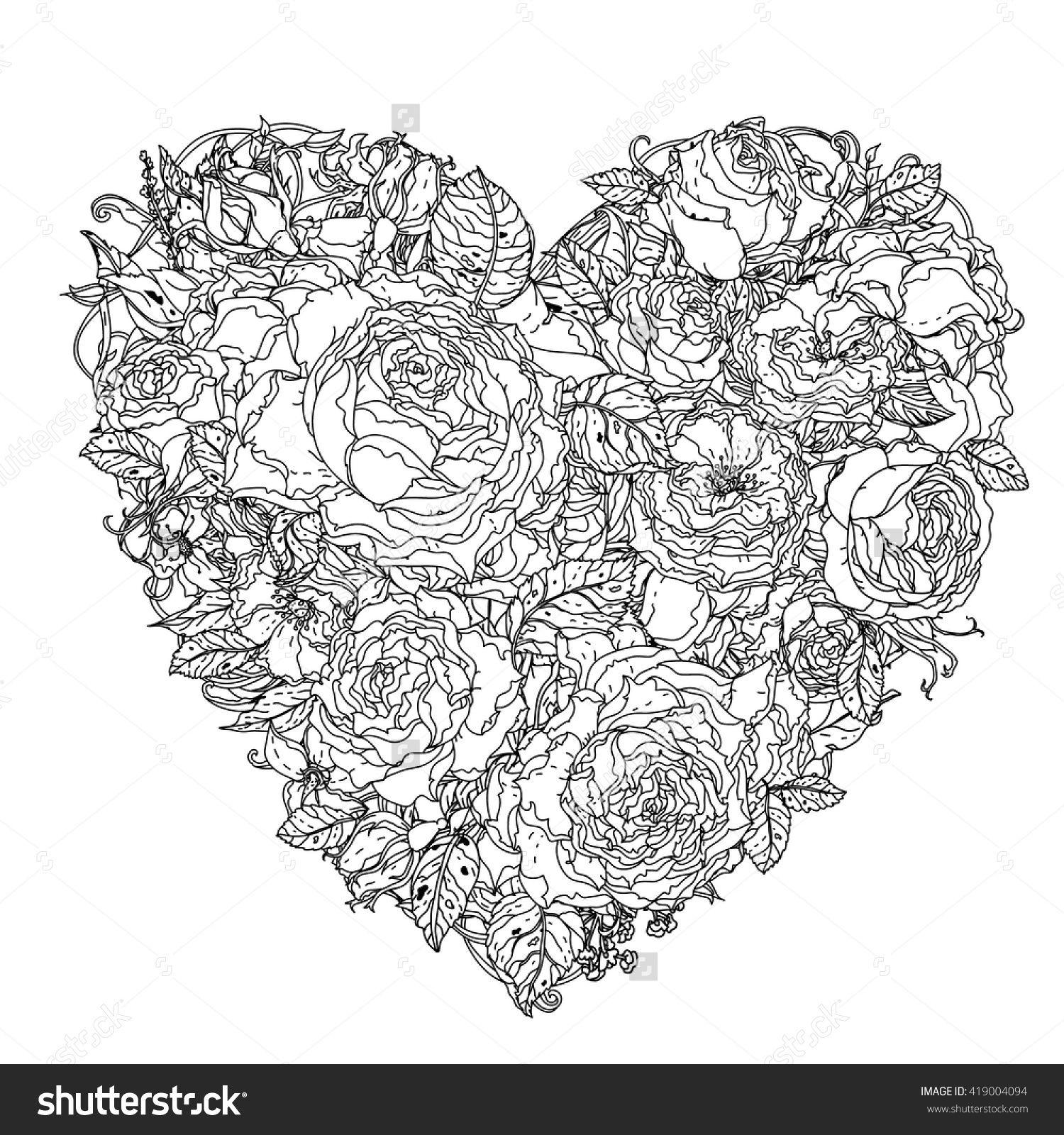 Uncolored heart by roses in zenart style, could be used for Adult ...