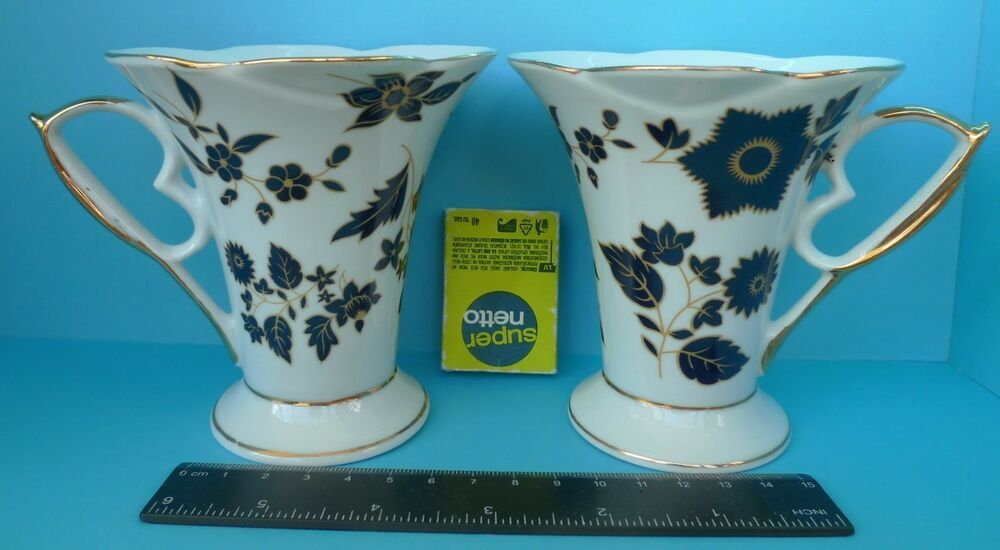 Vtg China Pottery Mug Cup 2psc Mugs Cups Black Gold Flowers Flora Pattern Pottery Mugs Mugs Flora Pattern