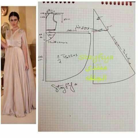 Molde de un vestido largo