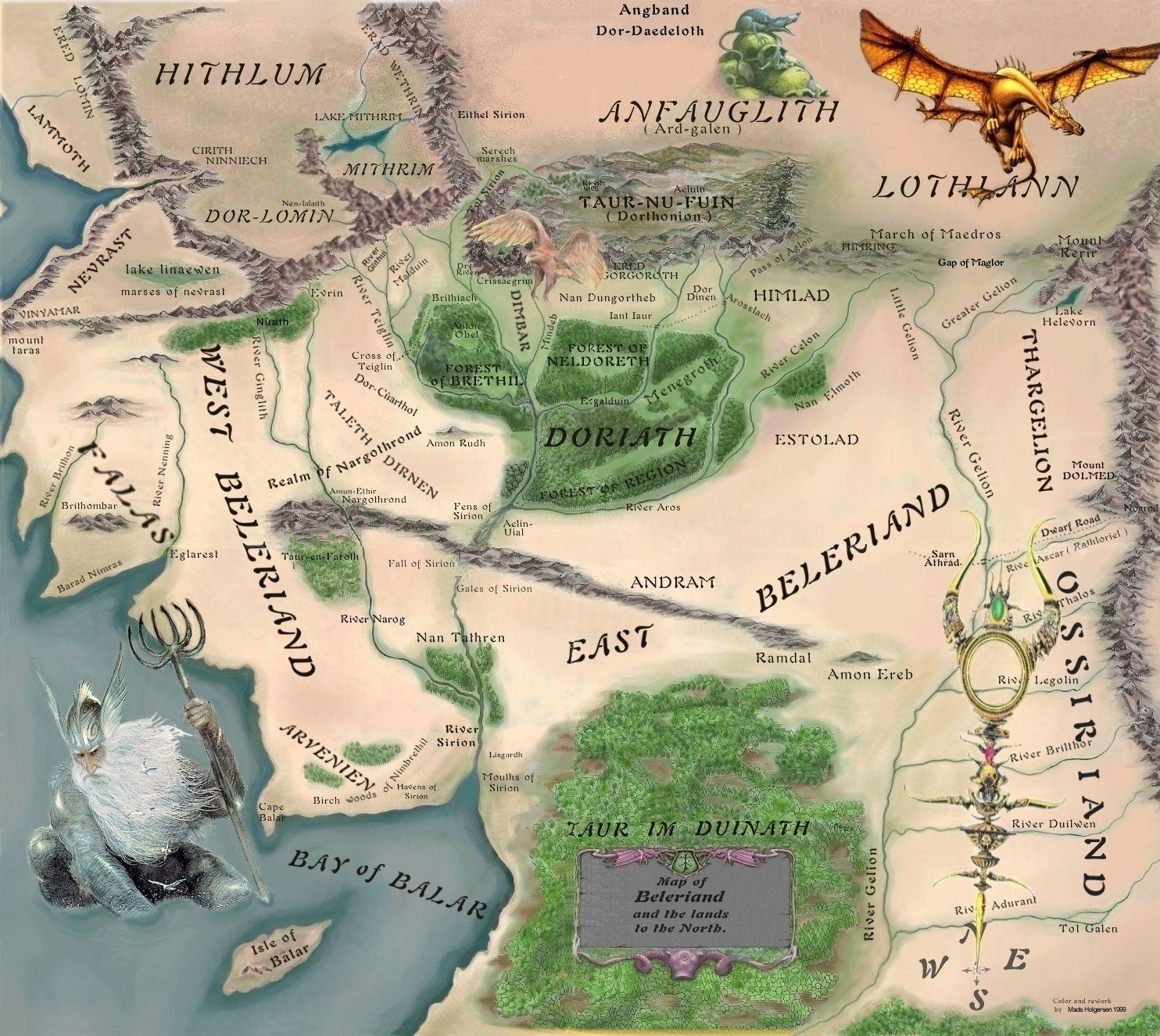 Karte Von Beleriand Mittelerde Tolkien Das Silmarillion