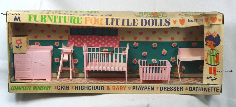 Vintage Plastic Doll House Furniture NRFEB Multiple Toymakers 1967 Baby Nursery