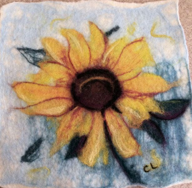Gorgeous Wet Felted Sunflower Picture