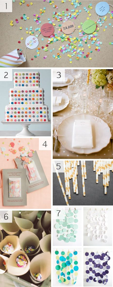 Colorful confetti / polka dot / circle / paper wedding decoration inspiration @Kate Mazur Lewis