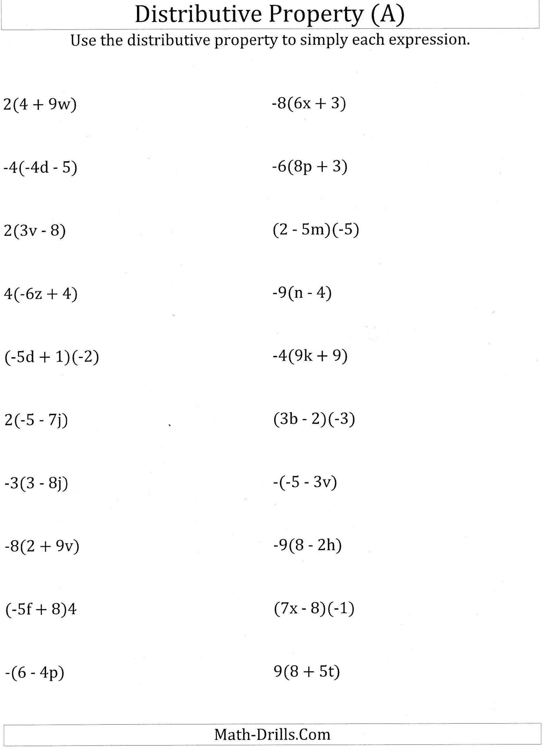 Distributive Property Worksheets 7th Grade In