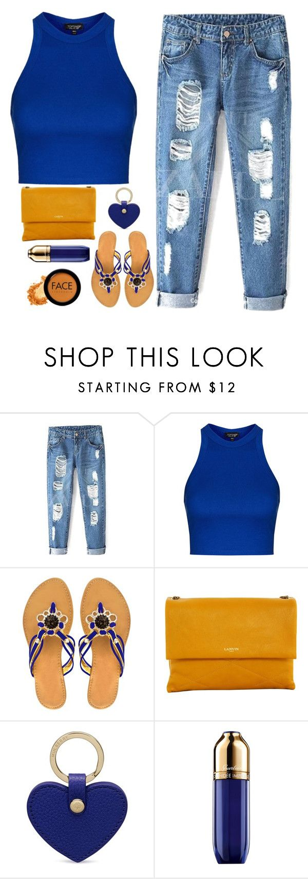 """""""nail your colors to the mast"""" by dianakhuzatyan ❤ liked on Polyvore featuring Topshop, Peach Couture, Lanvin, Mulberry, Guerlain, FACE Stockholm, women's clothing, women, female and woman"""