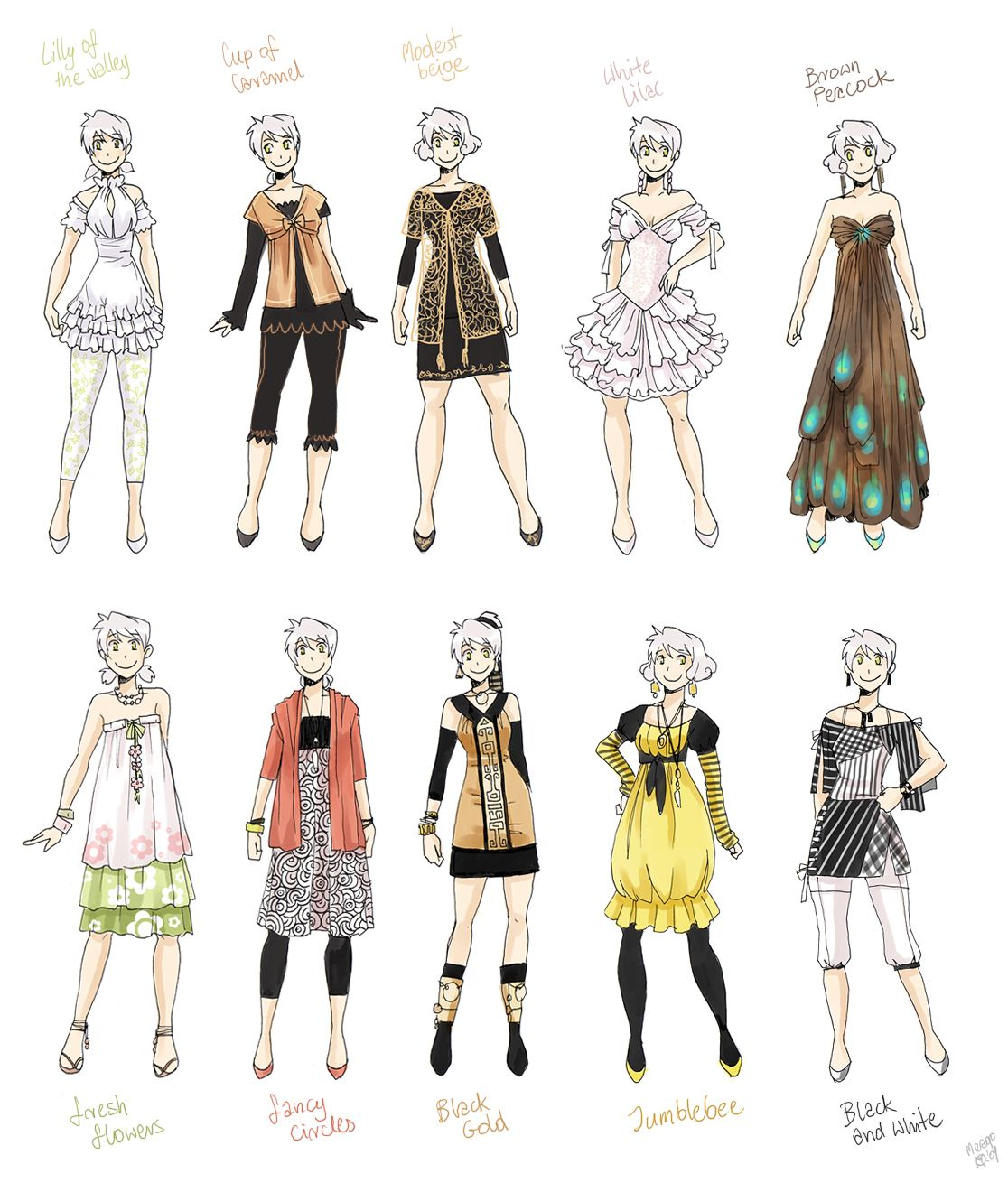 Various Female Clothes 5 By Meago On Deviantart Manga Clothes Art Clothes Fashion Design Sketches