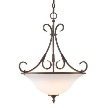 Golden Lighting Homestead RBZ 8606-3P RBZ-OP Bowl Pendant, Bronze