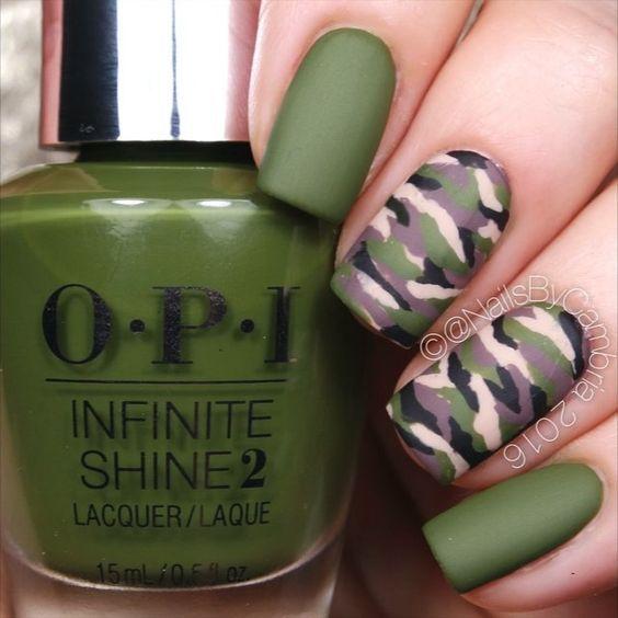uñas verde militar | La uña | Pinterest | Uñas verdes, Militar y Verde
