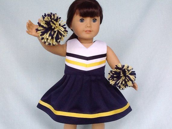 Navy Blue and Yellow Cheerleader/Cheer Dress for American Girl/18 inch doll #18inchcheerleaderclothes Navy Blue and Yellow Cheerleader/Cheer Dress for American Girl/18 inch doll #18inchcheerleaderclothes