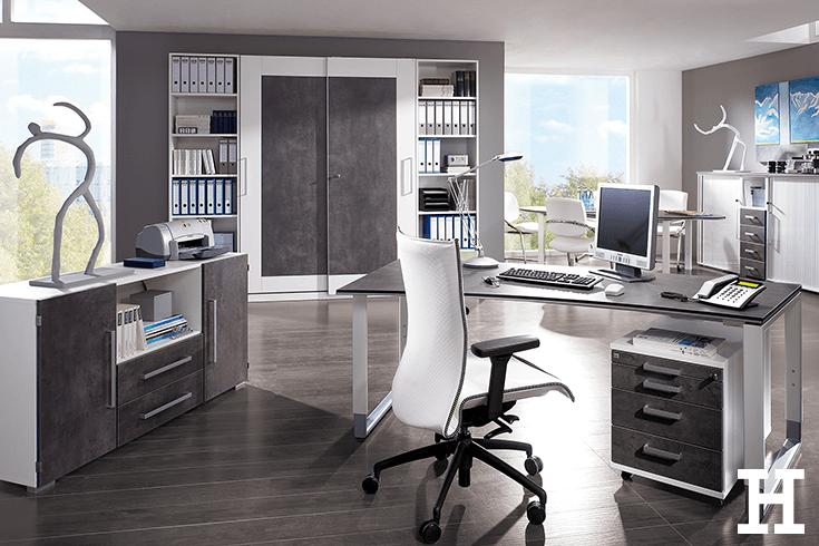 Modernes Buro Design In Steinoptik Meinhoffi Arbeitszimmer Zuhause Zuhause Arbeitszimmer
