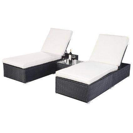 FDS 3PC Outdoor Rattan Sun Lounger Set Wicker Couch Recliner Bed w ...