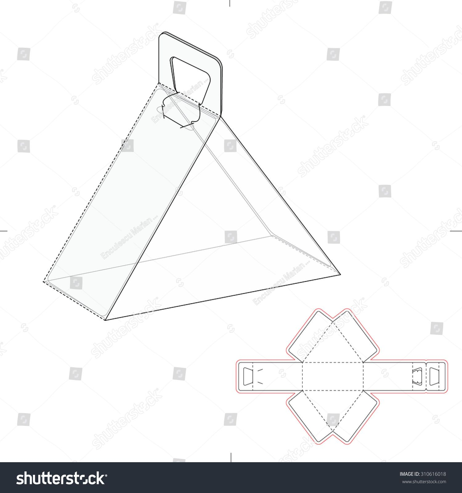 Triangular Carrying Box With Handle And Line Template