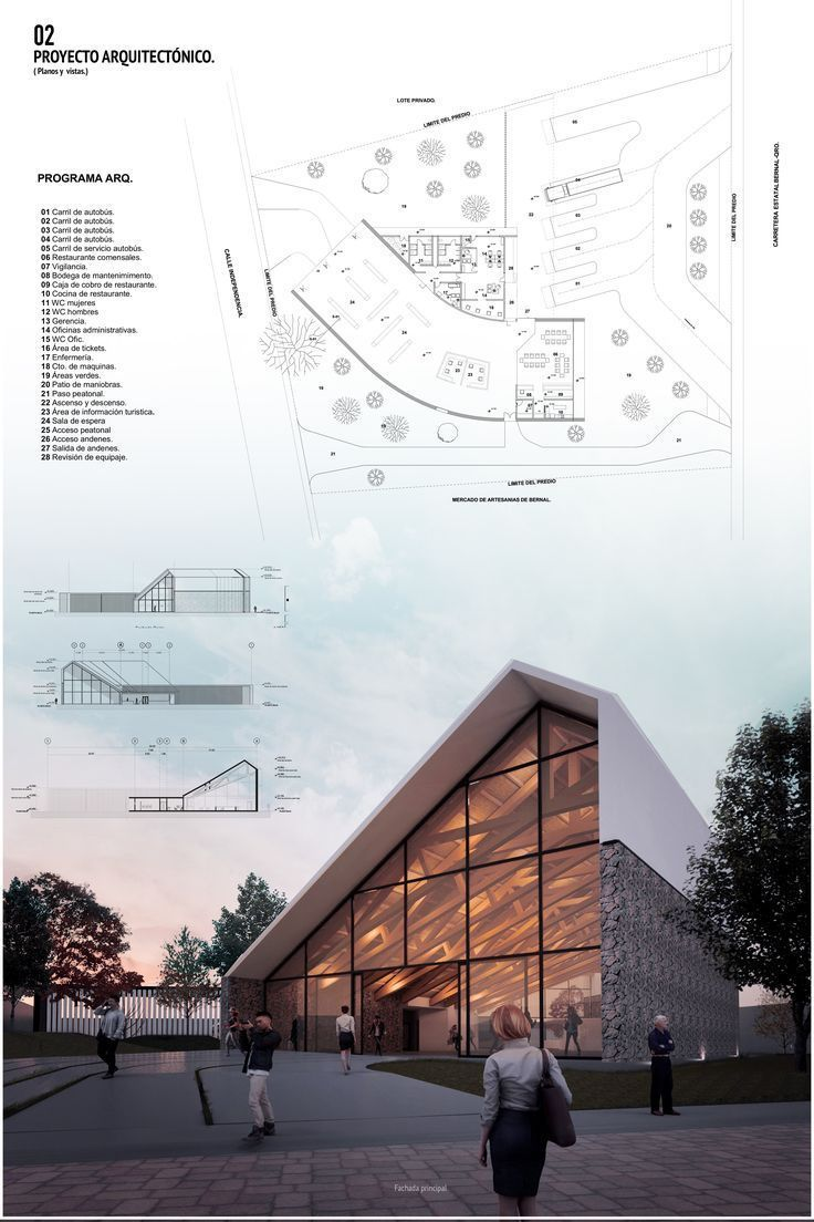 Bus station, Bernal, Querétaro. Architecture Plates Presentation -… Bus station, Bernal,