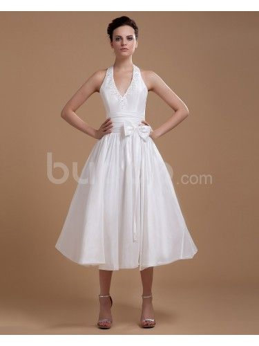 Satin Halter Neckline Tea-Length A-line Wedding Dress with Sash