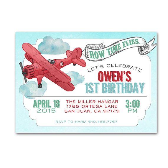 airplane bi plane birthday party invitation boy plane bi plane