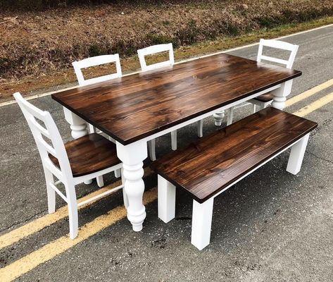 Farm Style Dining Table Set With Natural Wooden And X Base Legs