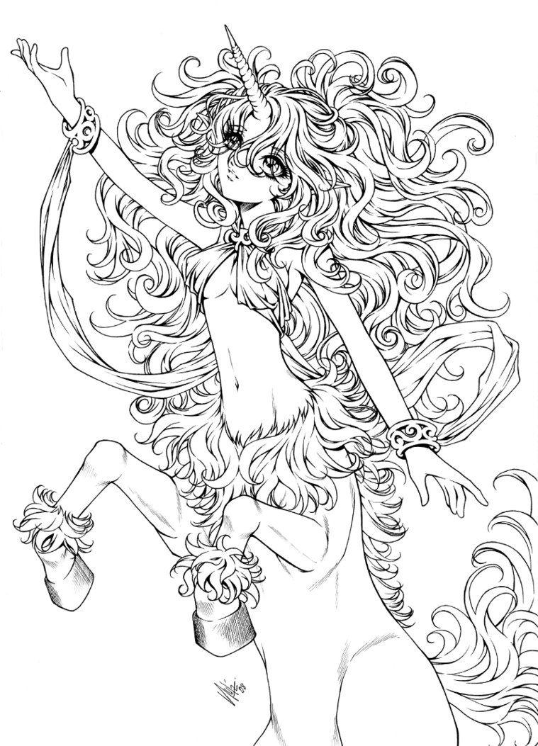 Unicorn Centaur By Sureya On Deviantart Unicorn Coloring Pages Fairy Coloring Pages Coloring Pages
