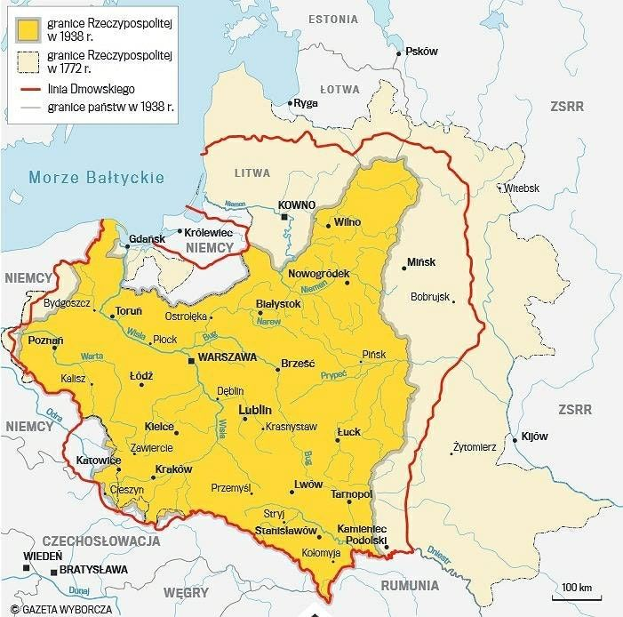 Dmowski S Line With Borders Of Polish Lithuanian Commonwealth In