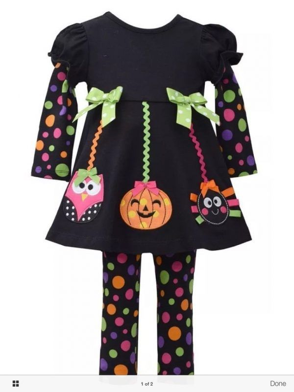 Bonnie Jean Girls Halloween Pumpkin Applique Multi Dot Leggings Outfit Set 2T 4T