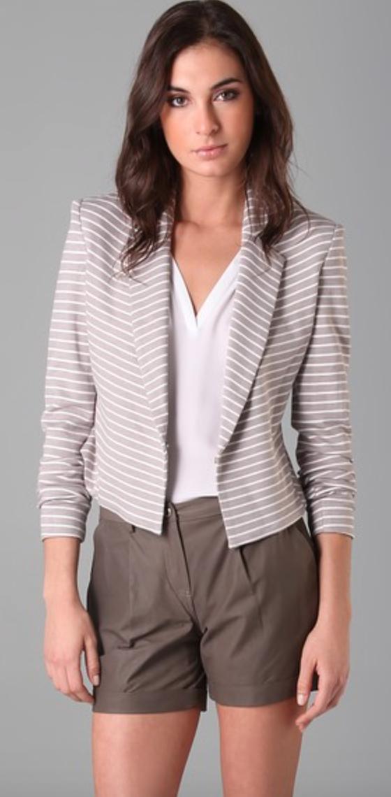 Robert Rodriguez Taupe/White Stripe Long Sleeve Blazer