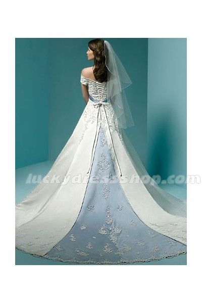White A-Line/Princess Off The Shoulder Empire Satin Wedding Dress With Appliques And Lace-up (MW4GE4)