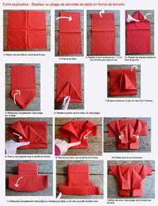 Pliage en papier r aliser un kimono en papier pliage de - Comment plier une serviette de table en papier ...