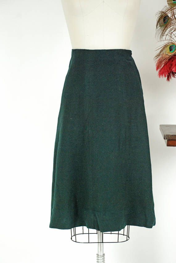 The Essential 1940s Style Blouse Vintage Frills: Vintage 1940s Skirt In A Wonderful, Rich Spruce Green