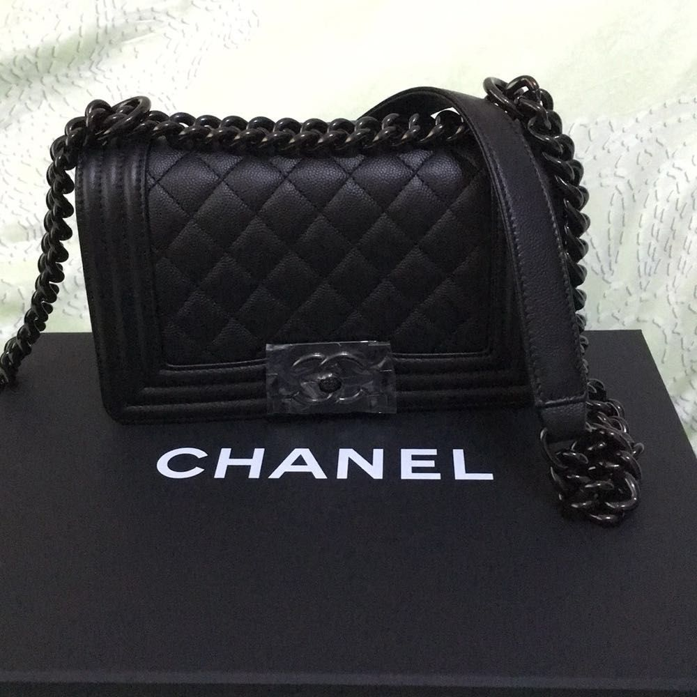 CHANEL Caviar So Black SMALL Boy bag  c7c8ccd63e3b2
