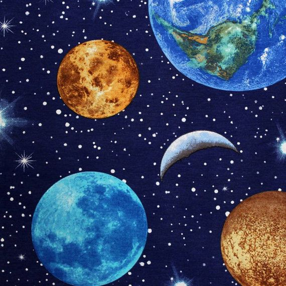 Planet Earth Space Stars Moon Curtain Upholstery Bedding Etsy Curtain Designs Fabric Wall Painting
