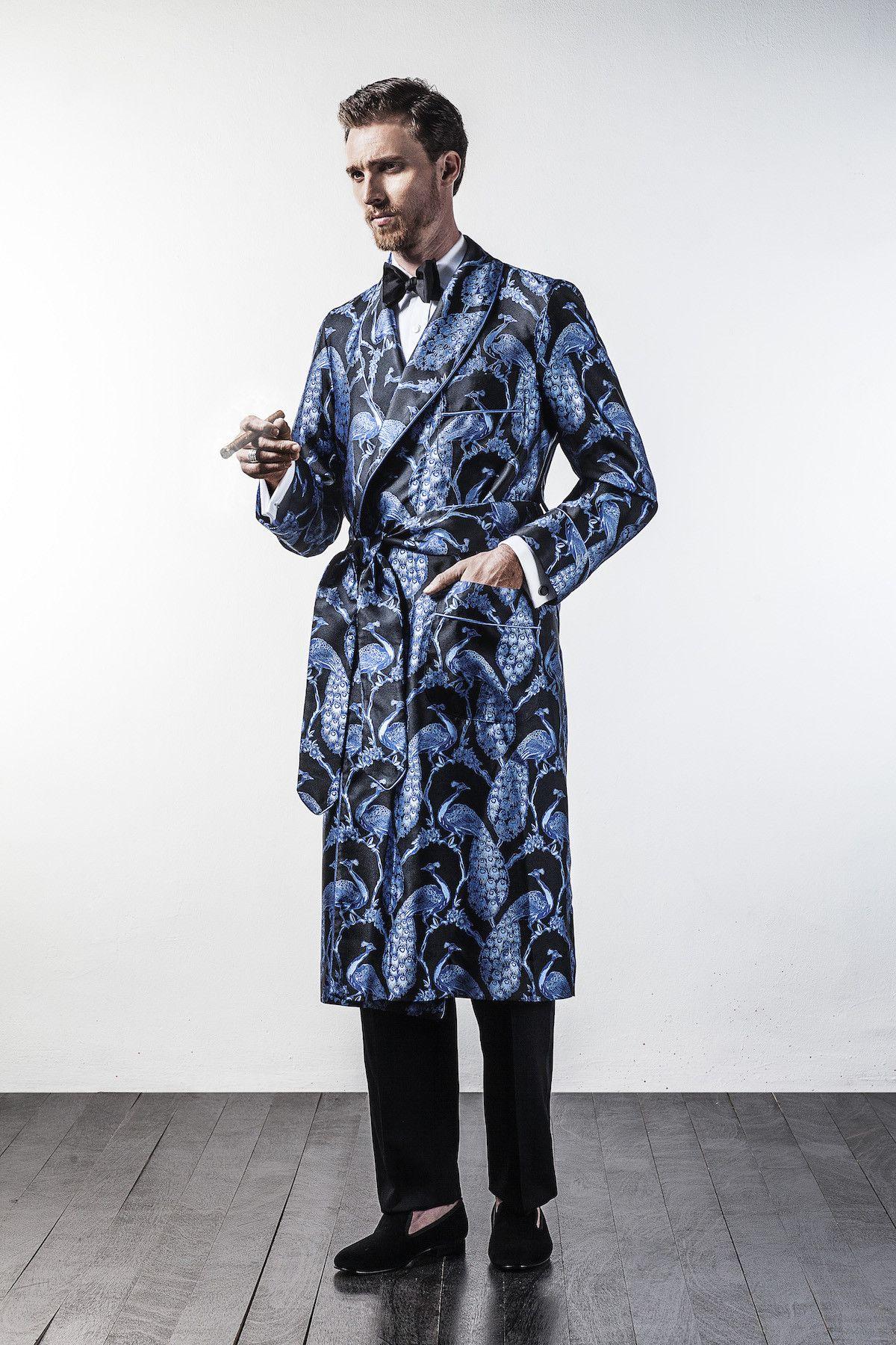 Black   Blue Peacock Silk Jacquard Dressing Gown  9ea98f460