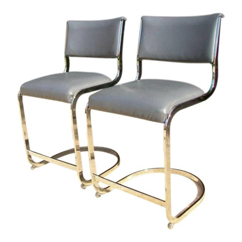 Fabulous Image Of Mid Century Chrome Cantilever Counter Stools Pair Pdpeps Interior Chair Design Pdpepsorg