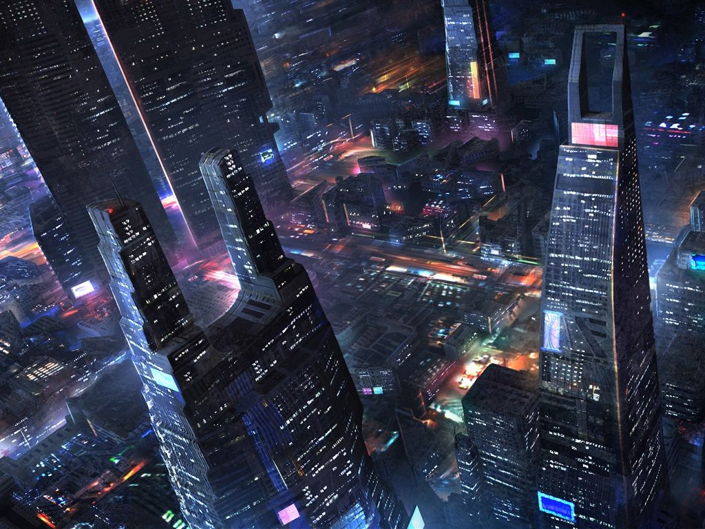 Future City Skyscrapers Night Lights Art Design Wallpaper 1024x768