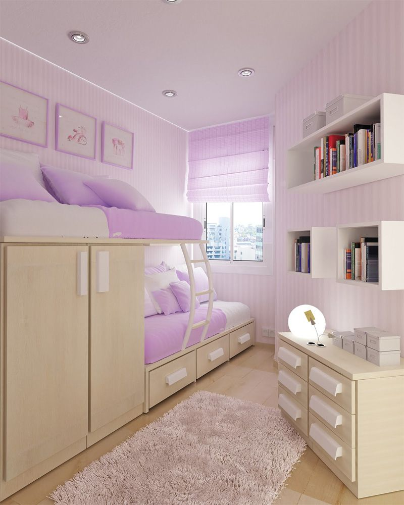 Genial Ute Purple Tween Bedroom Design Ideas With Corner Space Bunk Bed Furniture  That Have Storage Drawer And Small Space Windows Complete With The Curtains  Also ...