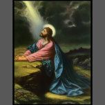 Vintage illustration religious design featuring Jesus Christ praying in Gethsemane. Jesus Christ is wearing a long flowing robe and praying while looking up towards Heaven with a star shining down, he is deep in thought and prayer. <br>Gethsemane is a garden at the foot of the Mount of Olives in Jerusalem, most famous as the place where Jesus and his disciples prayed the night before Jesus's crucifixion.