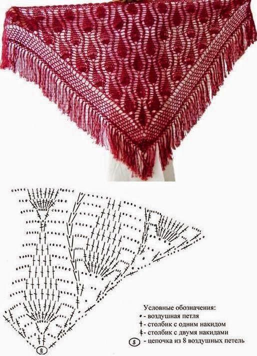 Patron de chal piñas al crochet | flores | Pinterest | Dos agujas ...
