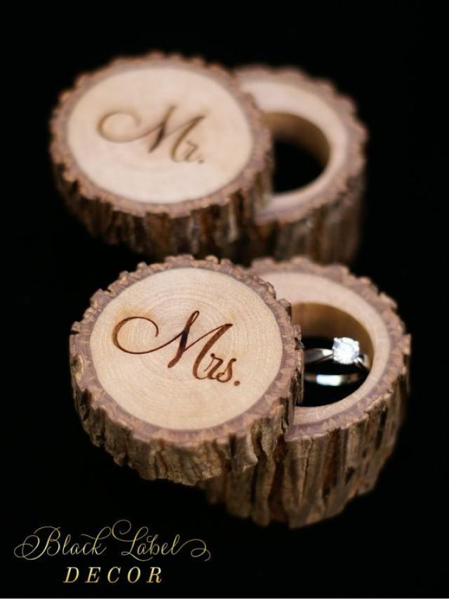 Rustic Hickory Wood Ring Box Alternative Tree Stump Ring Bearer Box Custom Personalized Cute Wedding Ann Wood Wedding Ring Wood Ring Box Wedding Ring Box