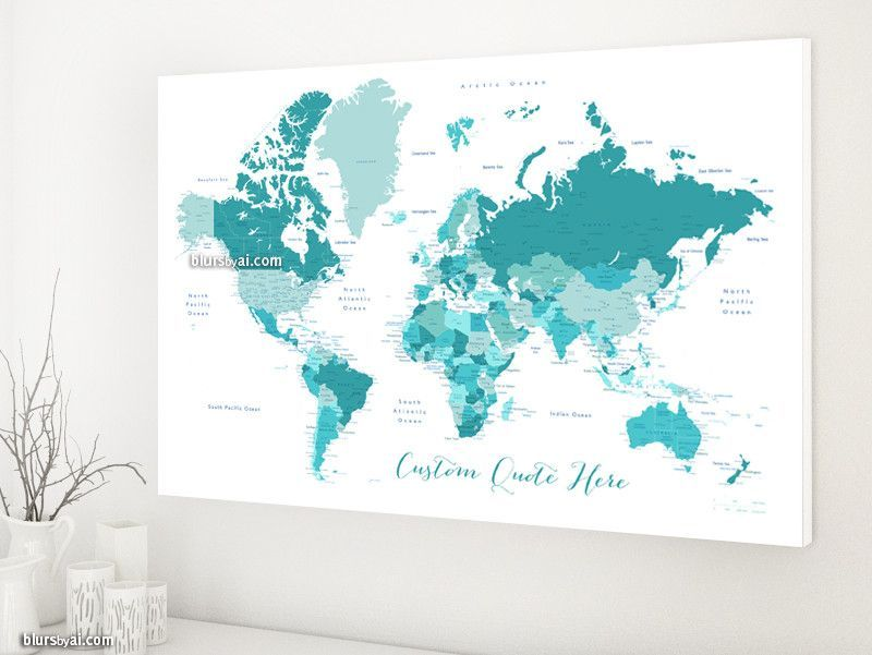 Custom quote world map canvas print teal and blue world map with custom quote world map canvas print teal and blue world map with cities color gumiabroncs Choice Image